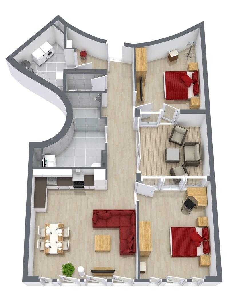 2 bedroom furnished apartment stuttgart downtown penthouse 4 6. Black Bedroom Furniture Sets. Home Design Ideas